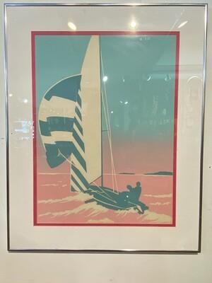 Vintage 1980's Framed Sailboat Print