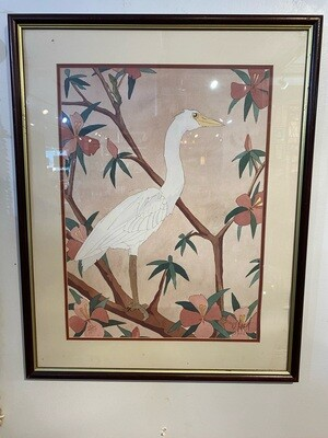 Limited Edition Framed Signed Crane Watercolor