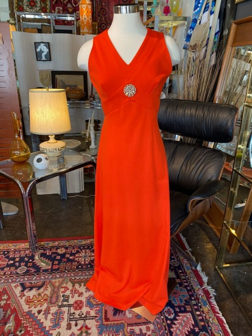 Vintage 1970's Salmon Goddess Gown with Jewel Detail