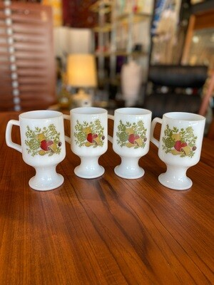 Vintage Spice of Life Milk Glass Footed Pedestal Coffee Mugs