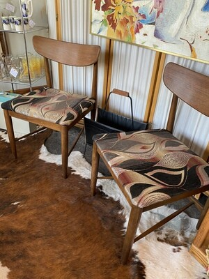 Mid Century Modern Set of Two Walnut Chairs