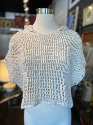 Modern Boho Cream Crochet Crop Top with Hoodie