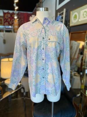 Vintage Liz Wear Cotton Pastel Floral Blouse