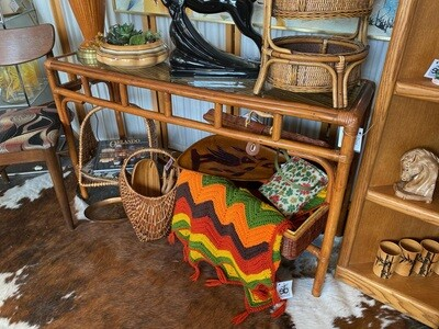 Vintage Rattan Entry Way Table