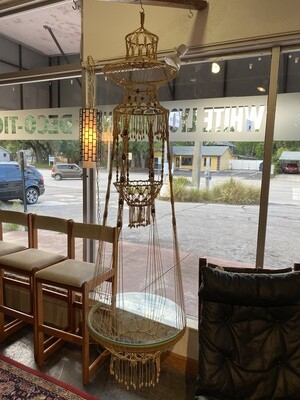 Mid Century Modern Vintage Extra Large Tiered Macrame Hanging Glass Top Table