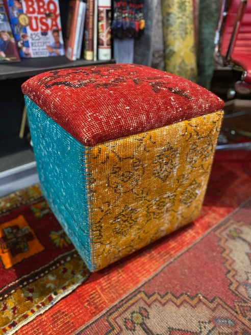 Handmade Square Ottoman with Vintage Carpets from Turkey
