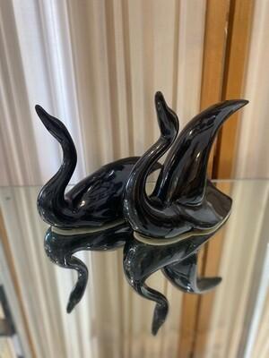 Art Deco Black Swans Pair