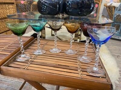Vintage Art Deco Rainbow Champagne Cocktail Glasses