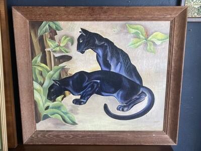 Vintage 1950's Signed Art Deco Black Panthers Original Artwork