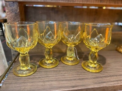 Vintage Franciscan Crystal Yellow Glass Wine Glasses
