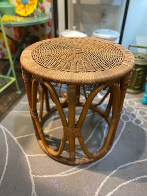 Vintage Bamboo & Wicker Side Table