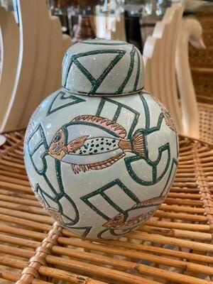 Vintage Fish Pattern Ginger Jar