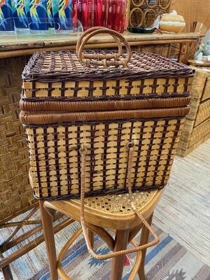 Boho Wicker Picnic Basket with Plates, Utensils & Mugs