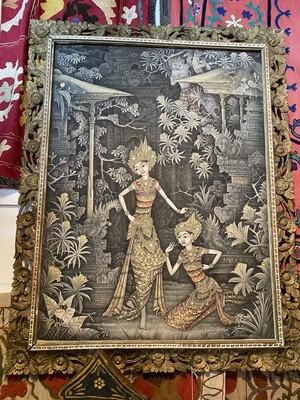 Vintage Detailed Print on Silk in Antique Frame