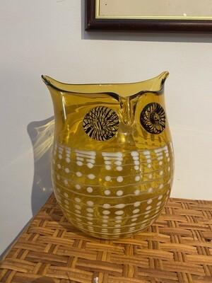 Vintage Blown Glass Owl Vase