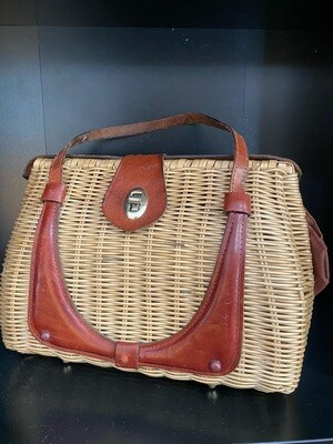 Vintage Woven with Leather Basket Purse