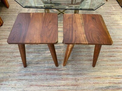 Mid Century Modern Wood Small Side Tables