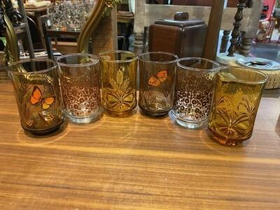 Vintage Set of 6 Mismatched Juice Glasses