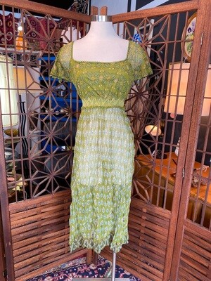 Modern Zara Green & Yellow Sheer Dress