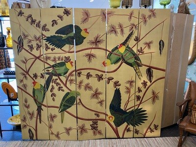 Vintage Handpainted Bird Room Divider