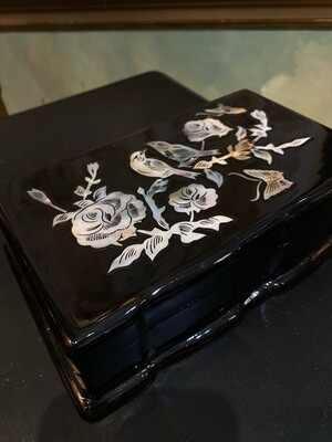 Vintage Black Lacquer Box with Mother of Pearl Inlay