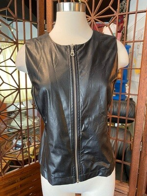 Modern Faux Leather Blouse