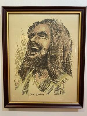 Vintage Framed Laughing Jesus