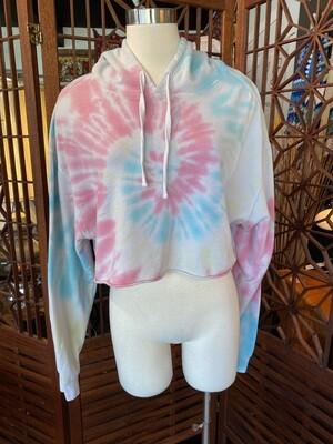 Modern Tie Dye Crop Hoodie Sweatshirt
