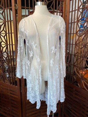 White Sheer Lace Open Front Duster