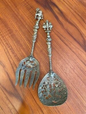 Vintage Italian Ugo Bellini Silverplate Serving Spoon & Fork