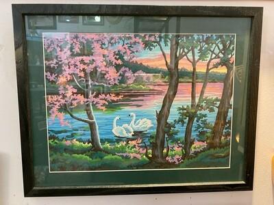 Vintage Framed Swan by Numbers #1