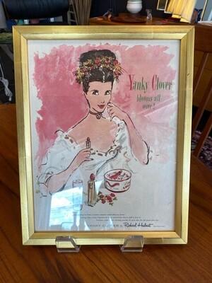 Vintage Framed Yanky Clover Makeup Ad