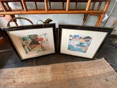 Vintage Pair of Signed Paul Klee Framed Watercolor Wall Art