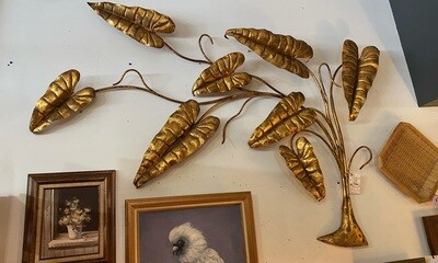 Mid Century Modern Gold Leaves Wall Sculpture