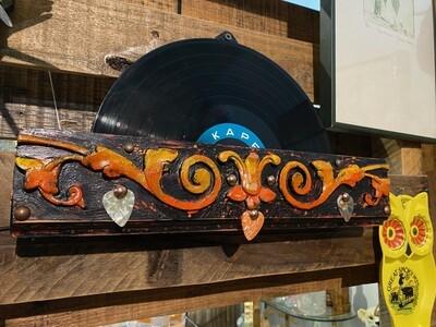 Artisan Made Record Holder Display with Three Guitar Picks