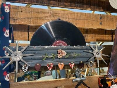 Artisan Made Record Holder Display with 7 Guitar Picks
