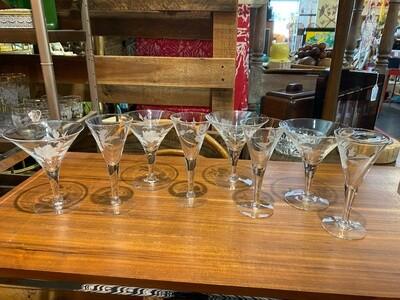 Vintage Set of 4 Martini Glasses & 4 Cordial Glasses