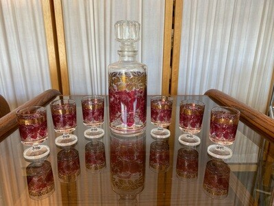 Vintage French Red & Gold Decanter with 6 Glasses