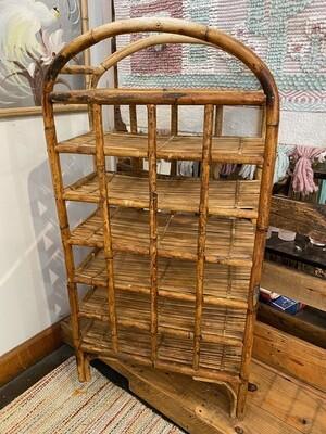 Vintage Burnt Bamboo Rattan Wine Rack