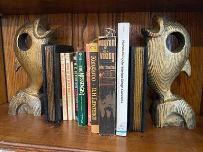 Vintage 1950's Wooden Fish Bookends