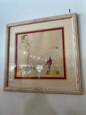 """Vintage 1977 """"Goat for Luck"""" Original Signed Art"""