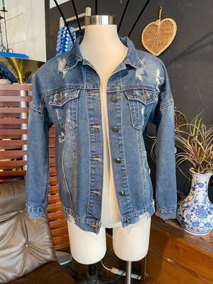 Upcycled One of a Kind Layered Fringe Denim Jacket