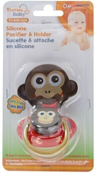Tootsie Baby, Silicone Pacifier & Pacifier Holder Set