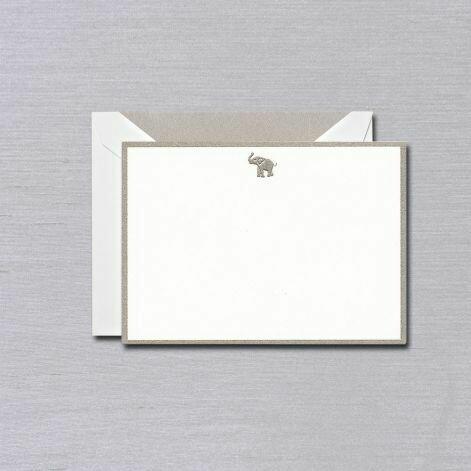 Elephant Silver Bordered White Card Set