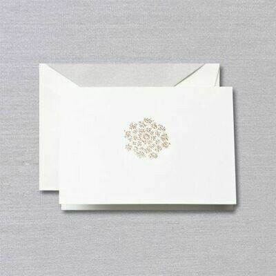 White Engraved Silver Queen Anne's Lace Folded Notes