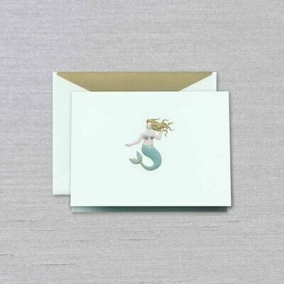 Beach Glass Engraved Mermaid Folded Note Set