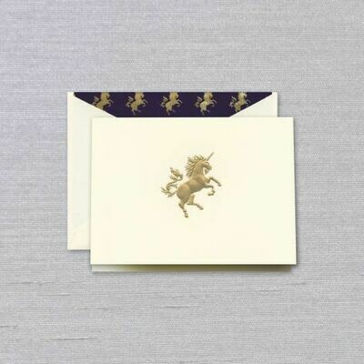 Ecru Engraved Unicorn Folded Note Set