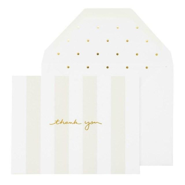 Gray Stripe Letterpress Thank You Boxed Note Set