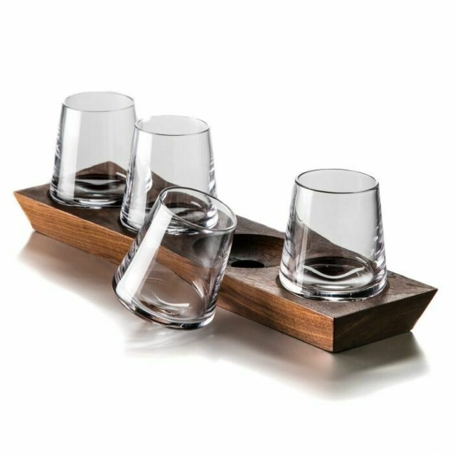 Ludlow Whiskey Glass Set With Wood Base
