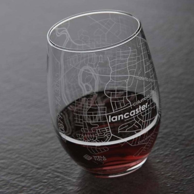 Lancaster PA Map Stemless Wine Glass
